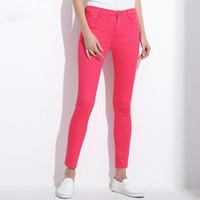 pantalones de mujer al por mayor-Candy Pantalones de Mujer Pantalones Lápiz 2019 Primavera Otoño Caqui Pantalones Elásticos para las mujeres Slim Ladies Jean Pantalones Mujer 1010