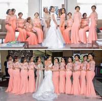 плюс размер длинный рукав кружевные вершины оптовых-Страна Нигерийский African Плюс Размер Коралловые невесты платья 2019 Половина Длинные рукава Top Lace Maid Of Honor платья Дешевые свадебные платья для гостей