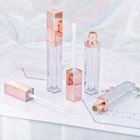 Wholesale empty lipsticks resale online - 4ML High Class Rose Gold Lip Gloss Bottle Plastic Empty Cosmetic Lip Oil Refillable Tube Liquid Lipstick Storage Bottle