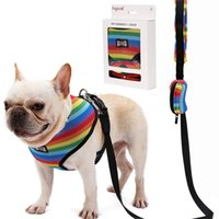 Wholesale stripe dog collar resale online - Rainbow Stripes Dog Harness Ventilation Egress Walking Cat Chain Mesh Cloth Doggy Traction Rope New Arrival do L1