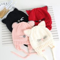 Wholesale baby boy crochet hats patterns for sale - Group buy Winter Unisex Knitted Baby Hat Cute Cat Pattern Kids Children Baby Boys Girls Hat Fashion Warm Children Baby Hats