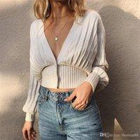 ingrosso spalla del rivestimento del rivestimento-Spalla Donne Cardigan corto profondo scollo a V di goccia costine Cardigan Sweater Coat Outwear Moda Femminile Abbigliamento