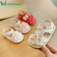 Wholesale closed toes sandals resale online - 11 cm Baby Birthday Party Dress Shoes Red Pink Beige Flowers Closed Toe Sandals For Years Old Toddler Girls Flats