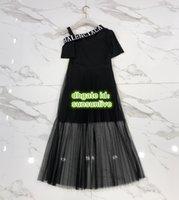 orta kollu yazlık elbiseler toptan satış-Moda Kadınlar Marka Panelli Blazer Elbise Ile Örgü Off-Omuz High-End Özel Gömlek Kısa Kollu Orta Buzağı Yaz Pist Midi Elbise 2019