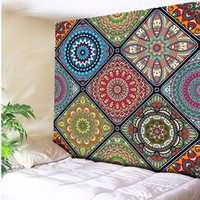 artı boyut havluları toptan satış-Artı Boyutu Renkli Güzel Mandala Goblen Duvar Asılı Plaj Havlusu, ev Dekor Halılar Oturma Odası Yatak Odası Kanepe Battaniye
