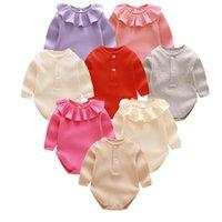 crianças do bebê uma peça de roupa romper venda por atacado-Bebê recém-nascido romper bonito infantil de uma peça roupas macacões infantis cores sólidas folha de lótus crianças roupas criança