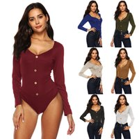 3a3f838ae10f Wholesale short sleeve romper womens for sale - Womens Long Sleeve Button  Jumpsuit Ladies Bodysuit Leotard