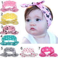 Wholesale lace polka dot baby hair resale online - 7 Colors Lovely bowknot headbands Polka Dots Butterfly Print kids Hair accessories fashion lovely bow kids baby children hairband free ship