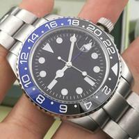 luxo esporte relógio automático venda por atacado-Fashio Novo GMT Luxo Cerâmica Mens Mecânico Automático de Aço Inoxidável 2813 Relógio de Movimento designer de esportes batman homens Relógios de Pulso