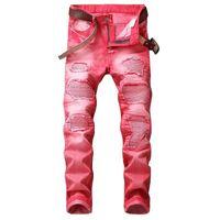 jeans rasgados tamanho 42 venda por atacado-Mens Jeans Afligido Motociclista Motociclista Jeans Rock revival Buraco Skinny Calça Jeans Masculina Rasgado Fino Hetero Homens Denim Calças Tamanho 29-42 # 04