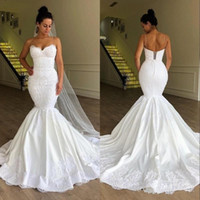 Wholesale corset spaghetti for sale - Group buy 2020 New Luxury African Mermaid Wedding Dresses Spaghetti Lace Appliques Satin Sleeveless Court Train Plus Size Corset Back Bridal Gowns