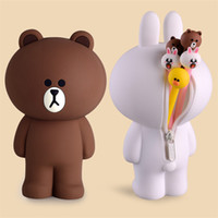 Wholesale clear silicone toy resale online - Cartoon Pencil Case Container Kawaii Cute Silicone Brown Bear Rabbit D Pencilcase Bags Kids Toys Gifts for Children Girls Decor