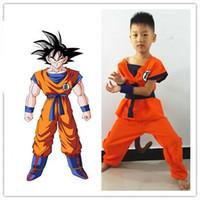 trajes de cosplay de bola de dragão venda por atacado-Qualidade superior Crianças Dragon Ball Z Son Goku Traje Cosplay Halloeen Roupas traje de halloween Frete Grátis