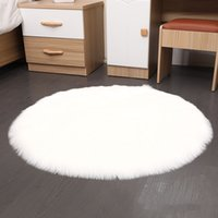 искусственные меховые покрывала оптовых-Sheepskin Rugs Chair Cover Round Home Decor Faux Fur Floor Bedroom Seat Cushion Soft