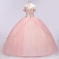 vestido rosa quinceanera imagem real venda por atacado-100% Real Pictures Luxo Rosa Bebê Lace Appliqued vestido de baile Vestidos Quinceanera Elegante Fora Do Ombro Prom Vestido de Noite Formal Vestidos de Festa