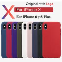étui en silicone d'origine iphone achat en gros de-Coque en silicone d'origine avec LOGO pour iPhone XR XS MAX 7 8 Plus 6 6 Plus couverture en silicone de téléphone pour Apple Retail Box