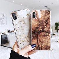 cáscara del oro del iphone al por mayor-Aluminio lámina de oro caja de teléfono de mármol para iphone x xs max xr cubierta de tpu suave para iphone 7 8 6 6 s más glitter case shell