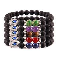 augen türkis großhandel-Lava Rock Evil Eye Armband Tiger Eye Türkis Armband Ätherisches Öl Diffusor Perlen Modeschmuck für Frauen Männer Geschenk 320A2