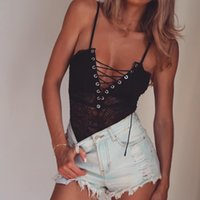Wholesale womens black jumpsuit clothing resale online - Fashion Womens Designer Camis High Quality Lace Sexy Sling Jumpsuit Clothes Sexy Women Summer Beach Vest