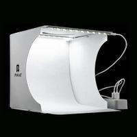 ingrosso corredi leggeri softbox fotografici-Mini Lightbox pieghevole Fotografia Photo Studio Softbox 2 Pannello LED Light Soft Box Kit sfondo fotografico Scatola luminosa per fotocamera DSLR