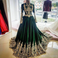Wholesale sexy long length club dresses online - Modest Arabic High Neck Formal Evening Prom Dresses Lace Appliqued Long Sleeve Gowns Floor Length Plus Size Special Occasion Dress