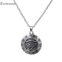 ожерелья фараона оптовых-EUEAVAN 20pcs Vintage Eye of Horus Pendant Necklace Egyptian Pharaoh Guardian God Wedjat Eye Jewelry For Healthy and Recovery
