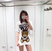 niedliche hemddrucke großhandel-Europa Italien Rabit Bär T-shirt Modische Männer Frauen Super niedlich Bär Kaninchen vorne und hinten Kaninchen T-Shirt drucken