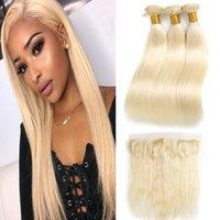 613 fermeture frontale blonde achat en gros de-613 blonde au miel 3 faisceaux avec fermeture frontale 13x4 armures de cheveux raides péruviens 613 faisceaux avec fermeture frontale au sommet