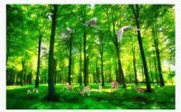 materiais de parede para sala de estar venda por atacado-Personalizado 3D foto papel de parede material de seda mural Bela árvore verde alce primavera paisagem 3d sala de TV fundo papel de parede para paredes