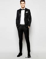 siyah resmi ceket mens toptan satış-Siyah Bir Düğme Erkek Takım Elbise Slim Fit Groomsmen Düğün Smokin Erkekler Için Tasarımcı Blazers Çentikli Yaka Resmi Takım Elbise (Ceket + Pantolon)