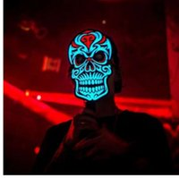 ingrosso maschera audio-Fashion Party Versione Sound Reactive Top LED Mask Dance Rave Light Up Regolabile Halloween Party Mask