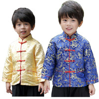 chinesisches neues jahr rote kleidung großhandel-2019 Chinese New Year Festival Kinder Jacke Jungen Tang Kleidung Kostüme Baby Boy Coat Rot Navy Dragon Outfits Gelb Oberbekleidung
