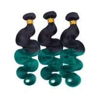 Wholesale 2tone hair weaves for sale - Group buy Dark Green Ombre Indian Human Hair Bundles Black Roots Body Wave Weave Wefts B Green Tone Ombre Human Hair Weave Bundles Tangle Free