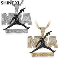 pingente charme fã venda por atacado-Hip Hop Iced Out Micro-incrustada de zircão colar de pingente de charme jóias para homens