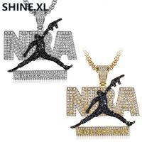 ausschwärmen großhandel-Hip Hop Iced Out Mikro-Intarsien Zirkon Herren Halskette Basketball Fan Anhänger Halskette Charme Schmuck für Männer