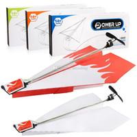 juguetes eléctricos al por mayor-Durable Power Up Electric Paper Plane Airplane Kit de conversión de moda DIY modelo de avión de papel eléctrico para niños juguetes C5897