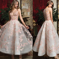 Wholesale white puffy dresses straps for sale - Group buy 2020 Cosmobella Prom Dresses Long Sheer Neck Puffy Dresses Party Evening Wear Ankle Length D Applique A Line Party Gowns