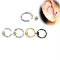 Wholesale pierced nipples jewelry resale online - Newest Surgical Steel Captive Bead Hoop CBR Earrings Belly Lip Eyebrow Nipple Helix Tragus Stud Nose Ring Body Piercing Jewelry