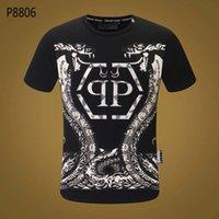 secadora de ropa encogible al por mayor-18SS diseñador de los hombres camiseta calavera impresión de moda anti-encogimiento y secado rápido diseñador de lujo para hombres marca P ropa pp66