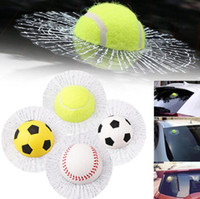 Wholesale 3d windows stickers for sale - Group buy 3D Car Stickers Baseball Football Tennis Sticker Window Crack Decals Personality Creative Rear Windshield Home Window Stickers GGA1907