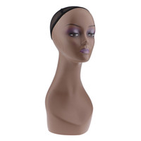 Wholesale model jewelry display resale online - Female Mannequin Manikin Head Model Wig Cap Jewelry Hat Display Holder Stand Coffee Color Wig Stand Training Head