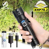 display led usado venda por atacado-Super brilhante XHP70.2 lanterna LED Com display de bateria impermeável LED Tactical Lanterna telescópica de zoom aplicado para a aventura, caça