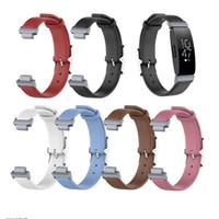 bandas de relógios de couro genuíno venda por atacado-Esporte genuíno couro genuíno bandas para fitbit inspire hr faixa de substituição pulseira de relógio inteligente pulseira