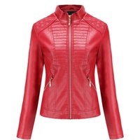 Wholesale womens faux pu leather jacket for sale - Group buy black leather jacket Spring Autumn women biker jacket leather coat women Good Quality Womens PU faux