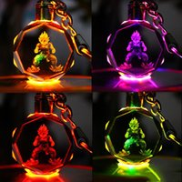 Wholesale anime crystal ball resale online - Dragon Ball Z Anime Keychain led kids toys props and classic gift set FPS keychain Cool metal crystal gem pendant Game Animation Accessories