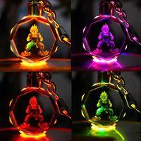 bola de cristal de anime al por mayor-Dragon Ball Z Anime llavero llevó juguetes para niños accesorios y conjunto de regalo clásico FPS llavero Cool metal crystal gem colgante Juego Animación Accesorios