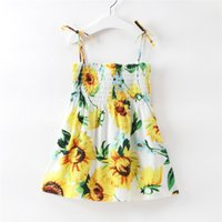 Wholesale white calf length dress casual for sale - Group buy Baby Sunflower Print Sling Dress Cute Casual Sleeveless Pleated Girls Dresses Comfortable Kids Designer Clothes Girls