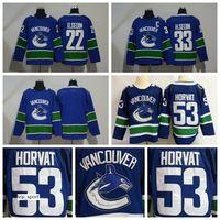 blanks de jerseys esportivos venda por atacado-Hockey de Vancouver Canucks 33 Henrik Sedin Jersey em branco 53 Bo Horvat 22 Daniel Sedin Jerseys todos os costurados esportes azul qualidade