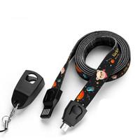 cable de cuerda al por mayor-Teléfono móvil Cordón para el cuello de la correa de muñeca de la mano del USB desmontable Micro tipo C por cable con cinta métrica Función rojo negro