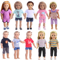 Wholesale chinese outfits for girls for sale - Group buy 18 inch Doll Tee Pants Fashioh clothes for My baby life generation doll cute Accessories Outfit fit Girl Gift